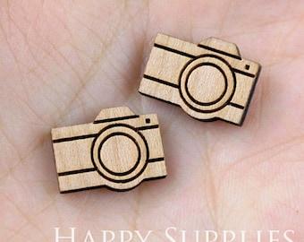 4pcs (SWC10) DIY Laser Cut Wooden Camera Charms