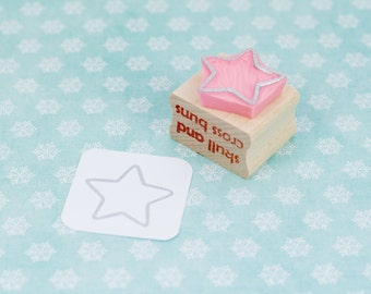 Star Stamp - Mini Star Outline Rubber Stamp - Christmas Rubber Stamp - Stocking Stuffer - Christmas Craft - Starry Rubber Stamp