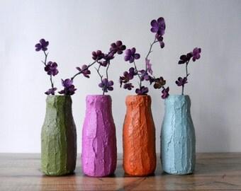 Sert of 4 Bottle Vases  / set  / Instant collection / mismatched / radiant orchid / grey blue / burnt umber / olive green / warm tones