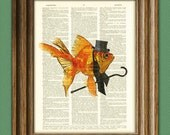 Sir Bubbles the Gentleman Goldfish art print illustration beautifully upcycled dictionary page book art print