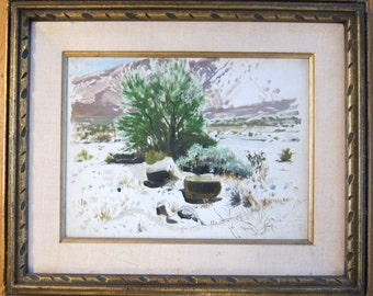 vintage CALIFORNIA desert plein air oil painting signed JAMES SWINNERTON Deer Canyon