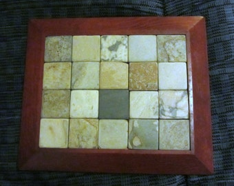 UpCycled Slate Trivet with Wooden Frame