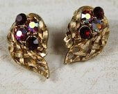 Vintage Lisner Textured Woven Gold Red Rhinestone Clip On Earrings