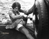 French 1920s Photo Postcard Girl Changing Tire Instant Download Artwork Risque