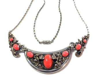Beautiful Art Nouveau Coral Art Glass Marcasite Silver Vintage Antique Necklace