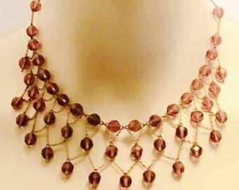 Beautiful Art Deco Purple Amethyst Crystal Festoon Vintage Antique Necklace