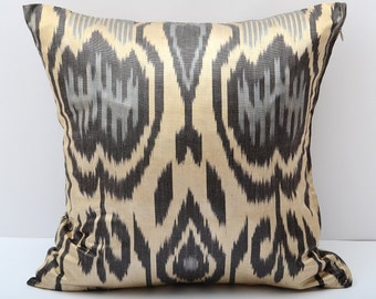 15x15 ikat cushion cover, ikat pillow cover, black gray cream ikat pillow cover, sofa pillows, 15x15 pillows, ikat, ikats, ikat cushion