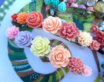 1cm rose flower - pink,cream, purple, hotpink purple sakura, mum, rose French Barrettes 3inch 2pcs choose your own flower