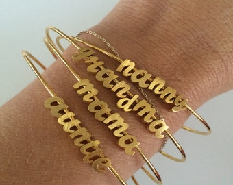 Tiny Gold Script Bangle…Gold Cursive letter bracelet. Silver Small Initial Bracelet.Create your own. Custom