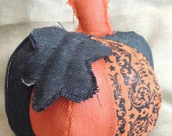 Halloween Orange, Black, & Owl Print Burlap Pumpkin Extra Large