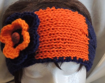 Orange & Blue Stripe Basketball Fan Knitted Headband With Crocheted Flower
