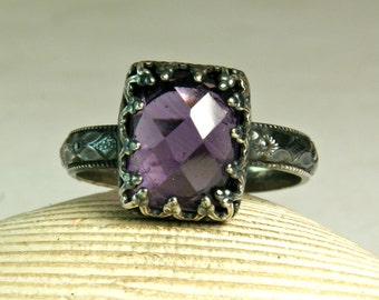 Cushion Cut Amethyst Ring, Sterling Silver Ring, Birthstone Jewelry, Princess Ring, Vintage Style Jewelry