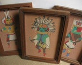 Vintage Native American Sand Painting / set of 3 framed sand paintings / tribal ethnic boho art