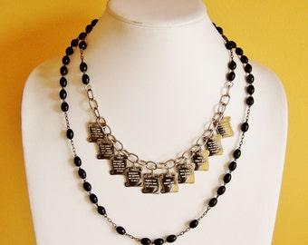 Reclaimed ten commandments necklace, black rosary necklace, charm necklace, vintage necklace, religious jewelry, faith jewelry, OOAK jewelry