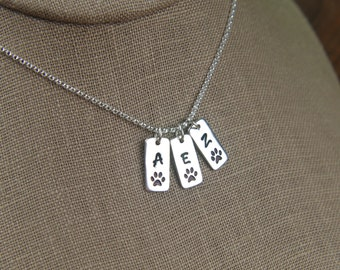 Sterling silver paw print tag with initial necklace in sterling silver, pet memorial, cat paw, dog paw, cat jewelry, dog jewelry, pets