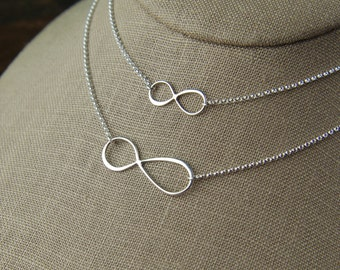 Mother and daughter sterling silver asymmetrical infinity symbol necklaces, eternity necklace, infinity jewelry, valentine day