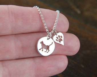 Cat charm and heart with paw print necklace in sterling silver, heart charm, cat paw, sterling silver cat, kitty cat, feline, cat jewelry