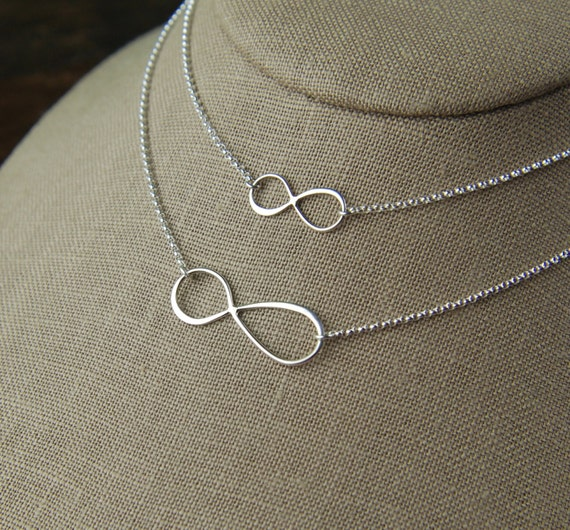 Mother and daughter sterling silver asymmetrical infinity symbol necklaces, eternity necklace, infinity jewelry