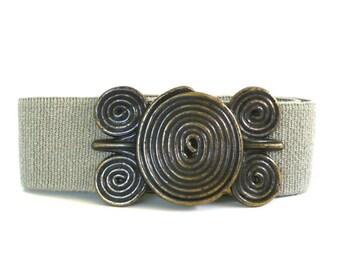 Vintage Coiled Buckle Elastic Belt