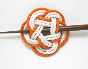 Sailor Knot Hair Stick Barrette in Orange and White