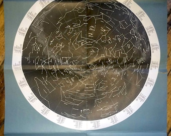 1973 chart of the sky original vintage astronomy constellation map print