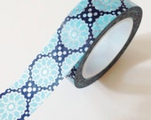 Blue and Navy Floral Washi Tape Paper Craft Supplies Gift Wrapping Wedding