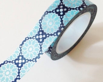 Blue and Navy Floral Washi Tape Scrapbooking Gift Wrapping Wedding masking tape
