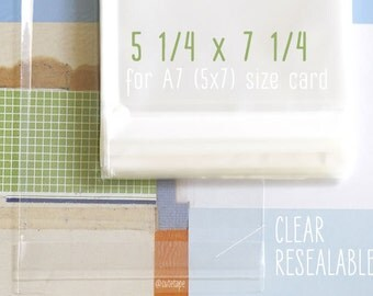 100 Clear Resealable Bags 5 1/4 x 7 1/4 Cellophane Bags 5x7 Cards Will Fit in the Clear Bag A7 Cards
