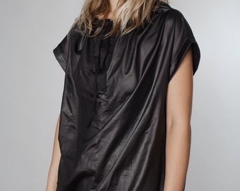 LAST SALE 50% off!!!! under 50, Black leather like glossy T-shirt with tying