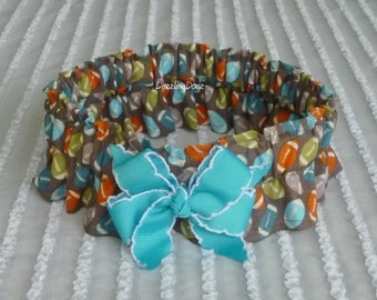 """Footballs on Brown Dog Scrunchie Collar - aqua bow - Size XL 18"""" to 20"""" neck - TrY Me PRiCe"""