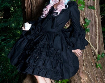 Gothic Lolita Dress Goth Loli Black Dress & Huge Bow Cosplay Evil Dolly Halloween Costume Custom Size including Plus Sizes Made to Measure