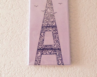 Acrylic Painting with Henna Art, Love in Paris, Unique, OOAK, Global Art, Gallery wrapped and ready to Hang, SALE