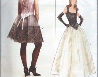 """Vogue Pattern No. 1605 by Bellville Sassoon:  Corset Bodice with Boning and Full Skirt Long or Short  Bust 34"""" - 38"""""""