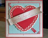 "Handmade Valentine's Day Card - 5 1/2"" x  1/2"" - A Loving Heart is the Truest Wisdom Banner - Die-Cut Hearts & Arrow"