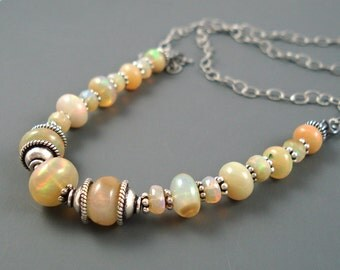 Opal Necklace, Large Ethiopian Fire Opals, Oxidized Sterling Silver, Handmade Real Fire Opal Jewelry