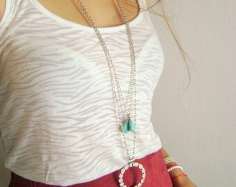 Boho Multi layered set necklace turquoise lucky charm silver plated layering necklaces - multi strand necklace - bohemian - necklaces urban
