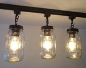 Mason Jar TRACK LIGHT Trio NEW Quarts