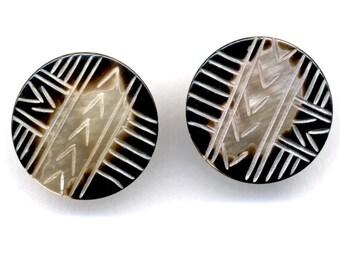 Earrings - Carved Shell