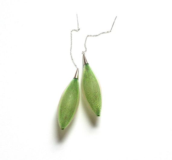 Green mesh drop earings contempirary dangle earrings adjustable
