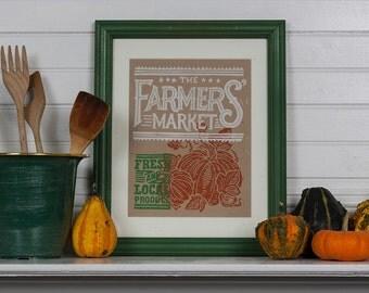 Farmers Market - Pumpkin Block Print