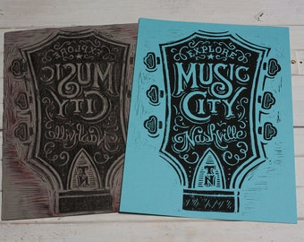 Explore Music City - Blue Block Print