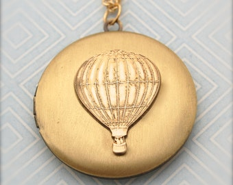 Hot Air Balloon Locket Necklace Hot Air Balloon Jewelry Gold Brass Lockets Unique Jewellery Hot Air Balloons Gift for Her Engagement Charms