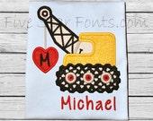 Crane Heart Valentine Applique Monogram