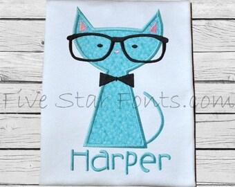 Cat in Glasses 1 Applique