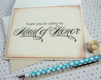 Maid of honor thank you cards, wedding party thank you, bridesmaid thank you card