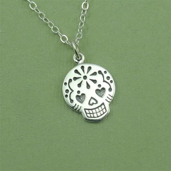 Sugar Skull Necklace - sterling silver sugar skull pendant jewelry - silver skull necklace