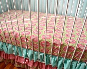 SALE- Ready to Ship- Sweet Paisley- Green, Aqua, Pink Bumperless Crib Bedding