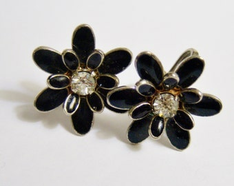 vintage black petals flower with rhinestone center screw on or screw back earrings 1114D