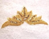 """0084 Gold Beads and Sequins Crystal Rhinestone Motif Sequin Beaded Applique Patch DIY Hair Accessory 7""""   (0084-gl)"""
