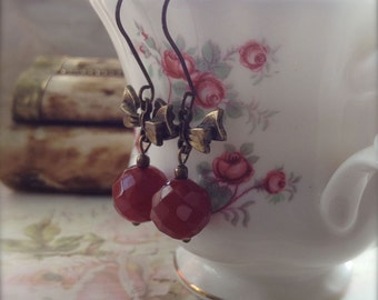 Bow Earrings Orange Earrings With Rustic Earwires Country Cottage Shabby Chic Inspired Carnelian Gemstone Jewellery